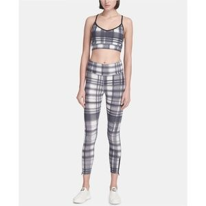 Dkny Sport Eclipse Plaid highwaist leggings & bra